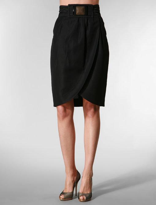 Hanii Y Tulip Skirt with Beaded Belt in Black