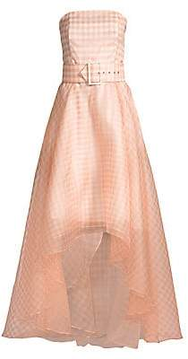 Shoshanna Women's Dianora High-Low Gingham Silk Gown - Size 0