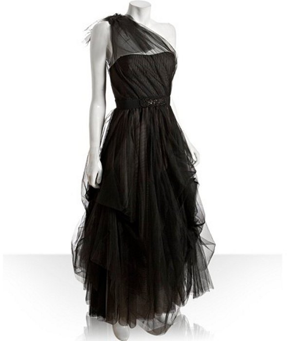 BCBGMAXAZRIA black tulle belted one-shoulder gown