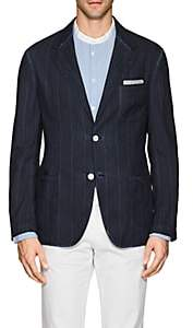 Massimo Alba Men's Striped Linen-Cotton Two-Button Sportcoat-Navy