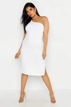 boohoo Plus One Shoulder Split Detail Midi Dress