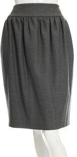 Barneys New York Pleated Pencil Skirt- Gray