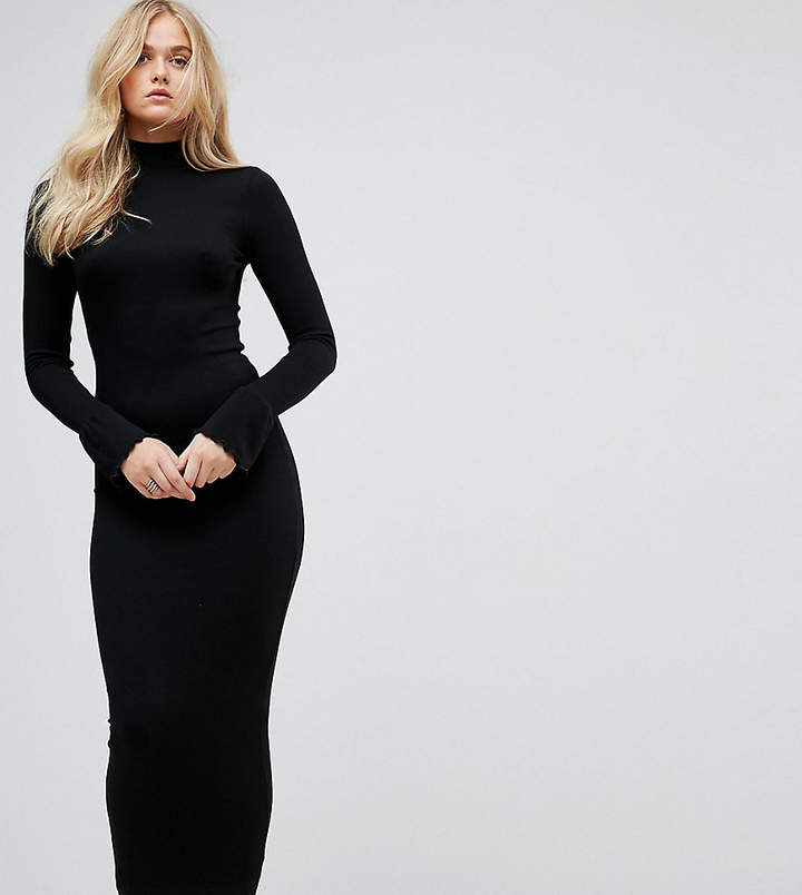 ASOS Tall ASOS TALL City Maxi Rib Bodycon Dress with Turtleneck and Frill Cuffs