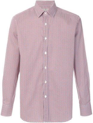 Canali optical print button-down shirt