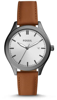Fossil Typographer Three-Hand Date Brown Leather Watch