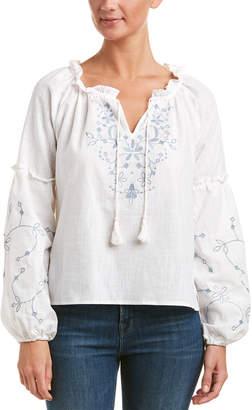 Haute Rogue Embroidered Linen-Blend Top