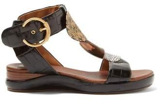 Chloé Crocodile Effect Leather T Bar Sandals - Womens - Black