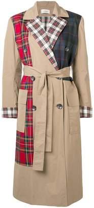 Isa Arfen check mix trench coat