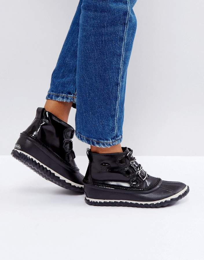 Sorel Out 'N About Black Waterproof Patent Leather Boots