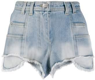 Balmain raw hem high-rise denim shorts