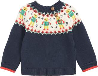 Boden Mini Fair Isle Robot Sweater