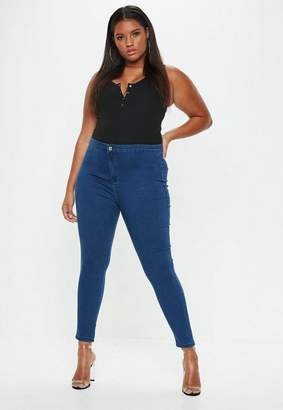Missguided Plus Size Mid Blue High Waisted Skinny Jeans