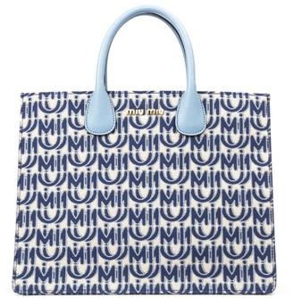 Miu Miu Cotton And Leather Printed Shopping Bag