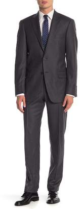 Hart Schaffner Marx Dark Grey Sharkskin Two Button Notch Lapel Wool Classic Fit Suit
