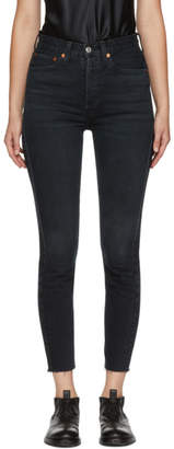 RE/DONE Black Originals Stretch High-Rise Ankle Crop Jeans