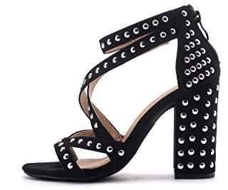 1ad1feb53ff Glamorous Mila Lady (Ursula Women s Platform Strappy with Studs  Embellishment Block Chunky Heels