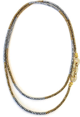 Dripping In Gems Silver & Gold Dash Hematite Pave Link Necklace