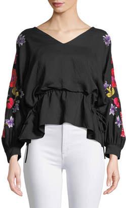 Josie Natori V-Neck Poet-Sleeve Blouse w/ Drawstring Sides & Embroidery