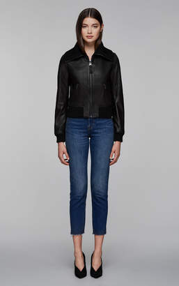 Mackage KRYSTA leather jacket with knit collar, cuffs and hem