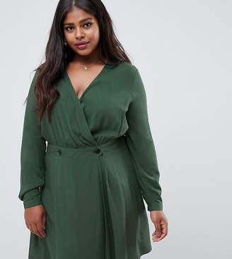 Asos DESIGN Curve casual wrap mini dress with long sleeves