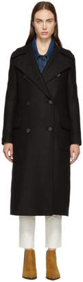 Harris Wharf London Black Pressed Wool Military Coat