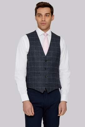 Tailored British Wool Blue Grey Windowpane Waistcoat