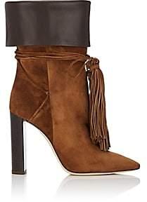 Saint Laurent Women's Tanger Suede Ankle Boots - Camel