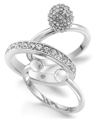 Alfani Silver-Tone 3-Pc. Set Crystal Statement Rings, Created for Macy's