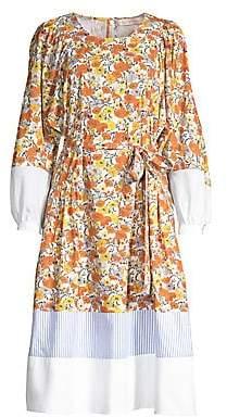 Tory Burch Women's Colorblock Floral Peasant Dress