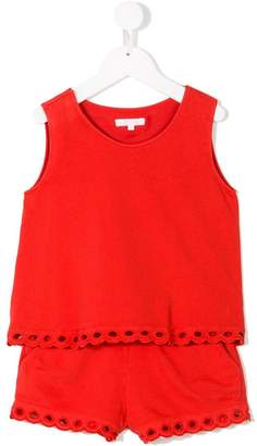 Chloé Kids scalloped edge playsuitround nec