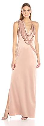 Halston Women's Sleeveless Slip Gown with Draped Strip Detail