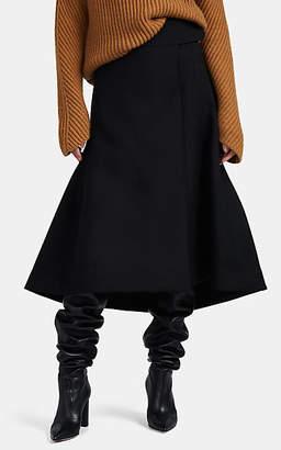 Jil Sander Women's Wool Tulip-Hem Wrap Skirt - Black