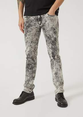 Emporio Armani J10 Extra-Slim-Fit Comfort Denim Jeans With Marble Effect