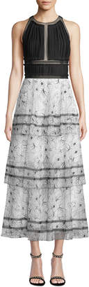 Carolina Herrera Ruched-Panel Floral-Lace Tiered Gown