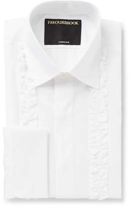 White Double-Cuff Ruffled-Front Cotton-Poplin Tuxedo Shirt