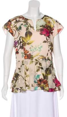 Ted Baker Floral Print Peplum Top