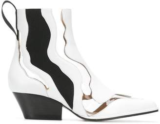 Sergio Rossi cut-out contrasting ankle boots