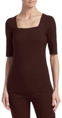 Akris Punto Squareneck Elbow-Length Sleeve Tee