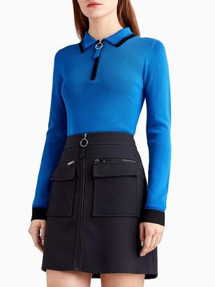 Knit Long Sleeve Polo with Contrast Tipping
