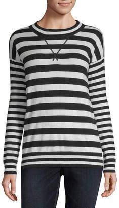 Liz Claiborne Weekend Womens Crew Neck Long Sleeve Stripe Pullover Sweater