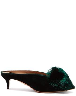 Aquazzura Powder Puff 45 Velvet Mules - Womens - Dark Green
