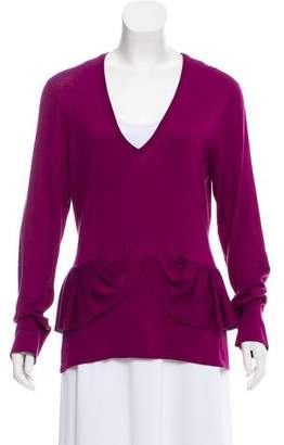Burberry Ruffle-Trimmed Knit Sweater