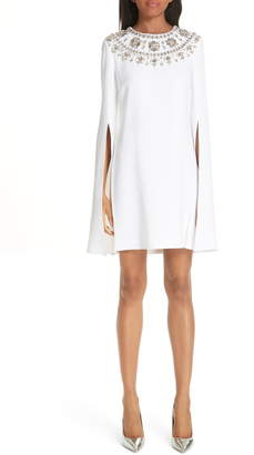 Michael Kors Crystal Embellished Split Sleeve Double Crepe Sable Dress