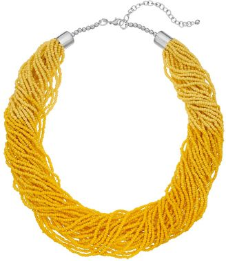 Yellow Seed Bead Torsade Necklace $26 thestylecure.com