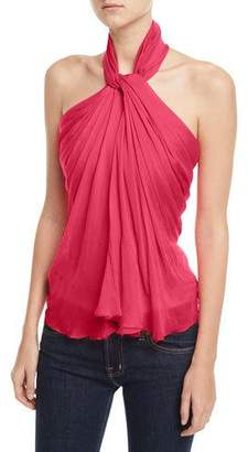 Brandon Maxwell Sleeveless Chiffon Halter Top