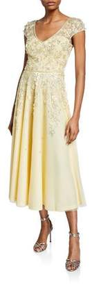Theia V-Neck Cap-Sleeve Beaded Floral Embellished Tulle Dress