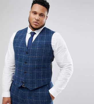 Asos Design Plus Slim Suit Waistcoat In 100% Wool Harris Tweed Herringbone In Blue Check