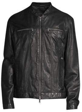 John Varvatos Zip-Front Leather Jacket