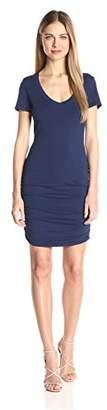 Michael Stars Women's Short Sleeve Vee Neck Dress with Ruching