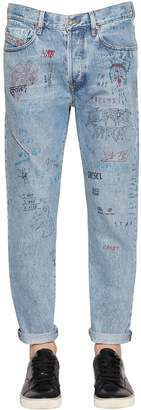 Diesel 16.5cm Slim Mharki Graffiti Denim Jeans
